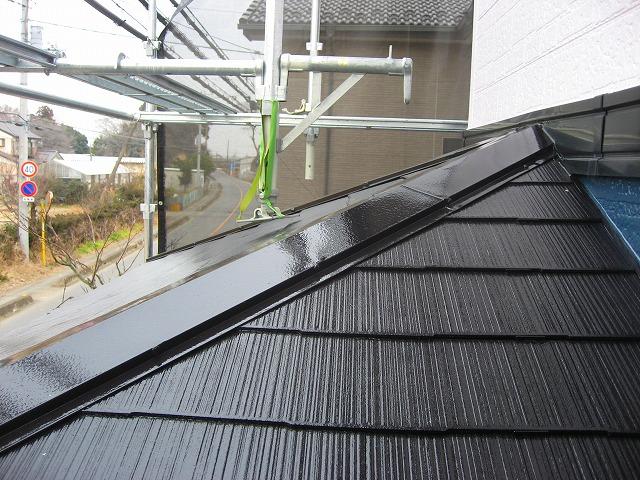 下屋根の棟板金部分塗装補修