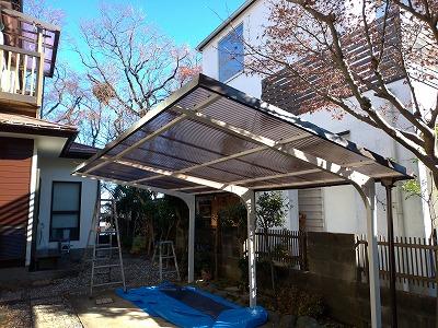 和光市で駐車場の【波板交換】と外壁塗装、屋根塗装を行いました。