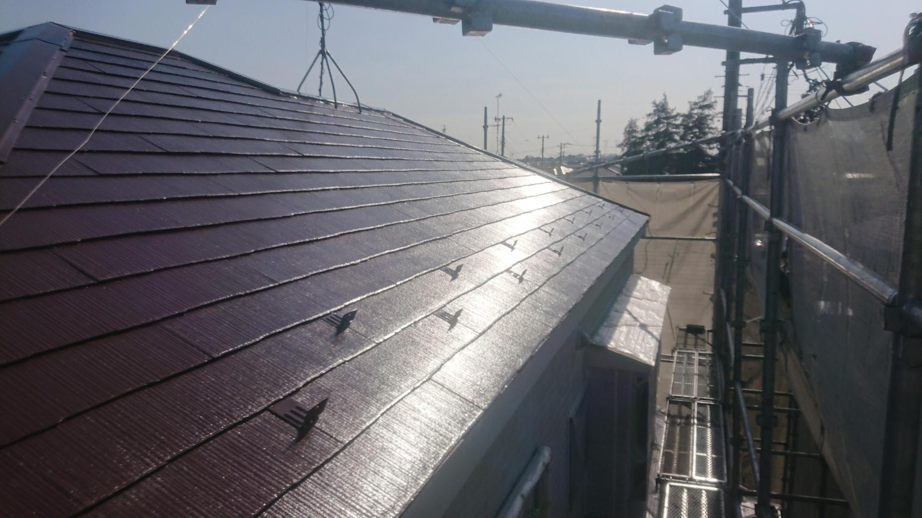 見沼区 屋根の上塗り完成